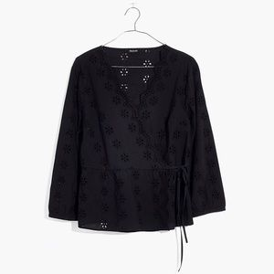 Madewell Scalloped Eyelet Wrap Top In Black NWT